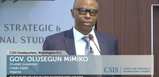 Dr. Olusegun Mimiko speaks at the Global Health Conference on March 14, 1027 in Washington DC |