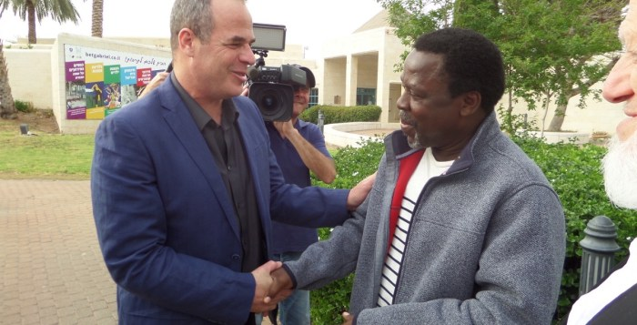 Prophet TB Joshua with the mayor of Jordan Valley, Idan Grimbaum in Israel
