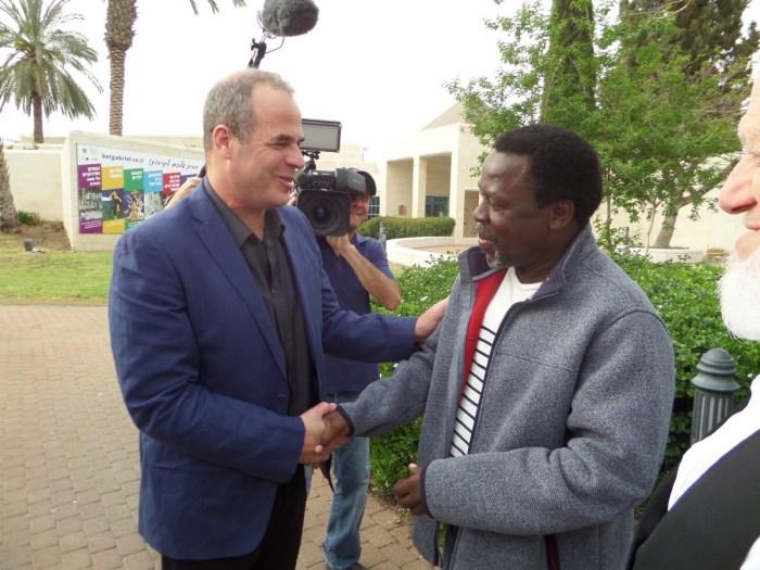 Prophet TB Joshua with the mayor of Jordan Valley, Idan Grimbaum in Israel