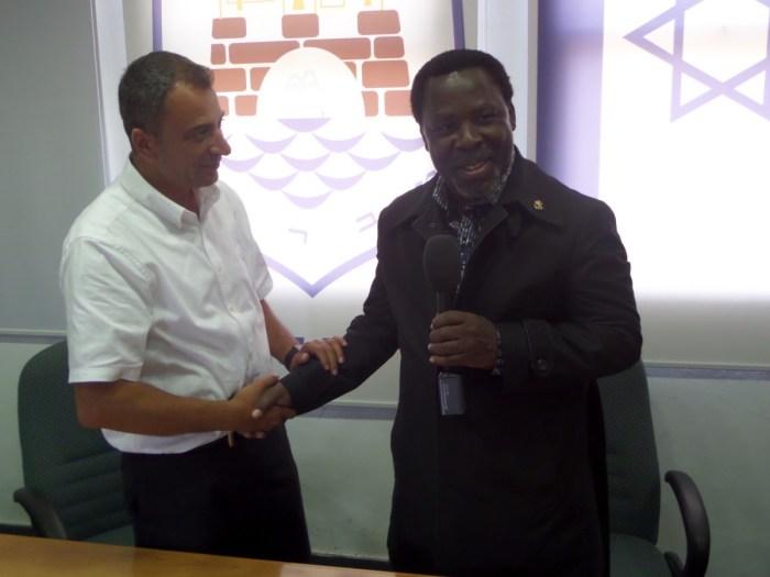 TB Joshua with mayor of Tiberias Joseph Ben-David in Israel