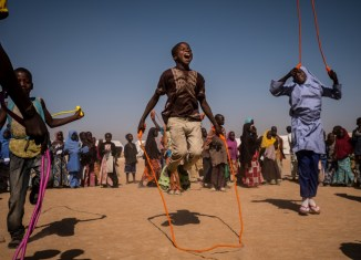 adamawa Children play with a ball during a recess at a UNICEF nigeria borno school schoolchildren nigeria