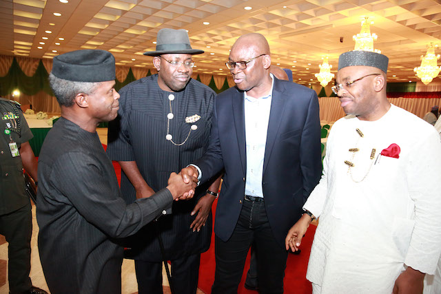 Osinbajo with Fayose. With them are Governor Seriake Dickson of Bayelsa and Udom Emmanuel of Akwa Ibom at a meeting of the acting president with the governors