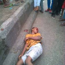 A photo of one of those killed by police bullets at the scene of the market demolition in Owerri, Imo State on August 26, 2017