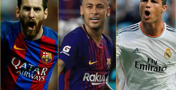L-R: Lionel Messi, Neymar, Cristiano Ronaldo