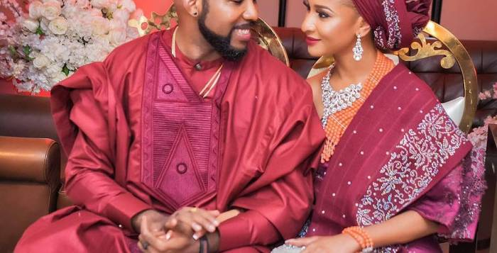 Banky W and wife, Adesua Etomi in their pre-wedding photo