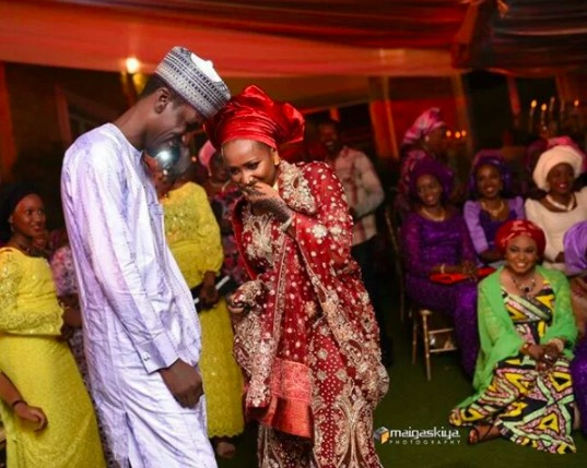 Maryam Sanda and her late husband, Haliru Bello on their wedding day in October 2015