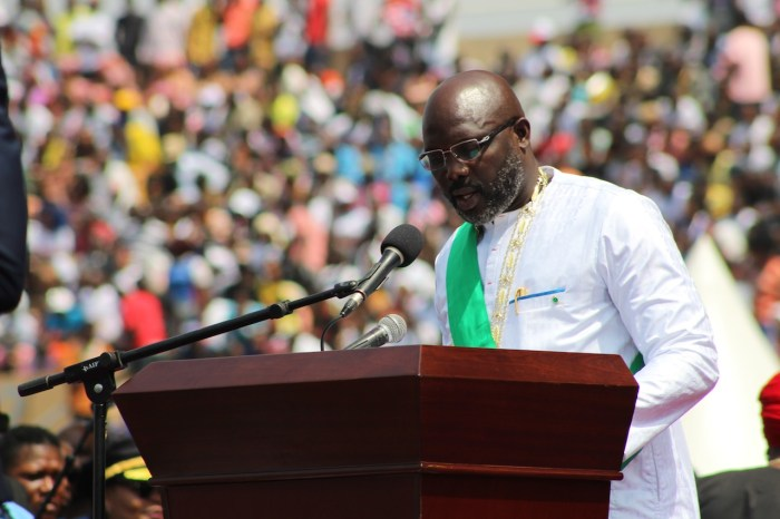 Liberian President George Weah at his inauguration in January 2018
