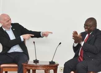 FIFA President, Gianni Infantino and Akinwunmi Ambode, Governor of Lagos State, Monday, February 19, 2018, | Facebook