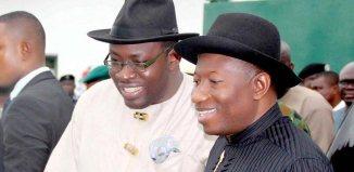 Former President of Nigeria, Goodluck Jonathan with Governor of Bayelsa State, Seriake Dickson