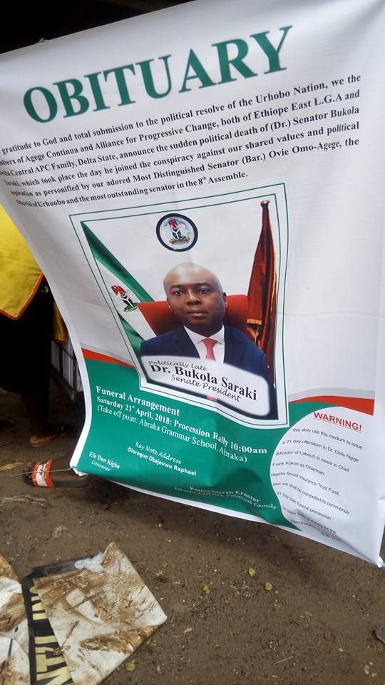 Suspended Senator Omo-Agege's Supporters Release 'Obituary' Of Saraki [LOOK]