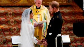 WINDSOR, UNITED KINGDOM - MAY 19: Prince Harry and Meghan Markle exchange vows during their wedding ceremony in St George's Chapel at Windsor Castle on May 19, 2018 in Windsor, England. (Photo by Owen Humphreys - WPA Pool/Getty Images)