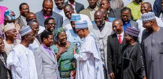 President Buhari receives in courtesy visit Members of Christian Association of Nigeria from 19 Northern States and Abuja led by Rev. Dr. Yakubu Pam in State House on 5th July 2018