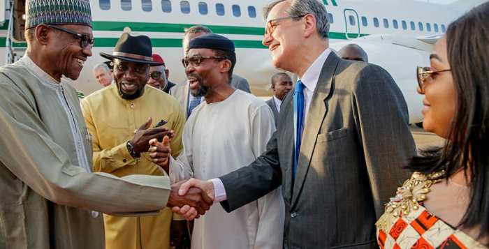 President Buhari with Mr Oji Ngofa, Nigeria's Ambassador to the Kingdom of the Netherlands, Judge Chile Eboe-Osuji, President of the ICC, Vice President of the Court, Marc Perrin de Brichambut and Wife of Nigeria's Ambassador Mrs Depriye Ngofa as he arrived Rotterdam-The Hague Airport Netherland on 15th July 2018
