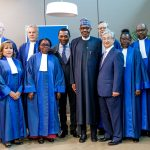 President Buhari in a group photo with Judges of the Criminal Court ahead of his Keynote address at the 20th Anniversary of the International Criminal Court (ICC) at the Hague, Netherlands on 17th July 2018