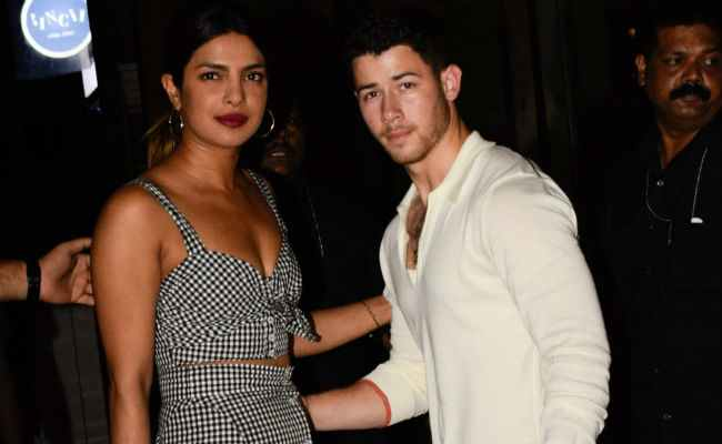 Priyanka Chopra photographed with Nick Jonas in Mumbai.