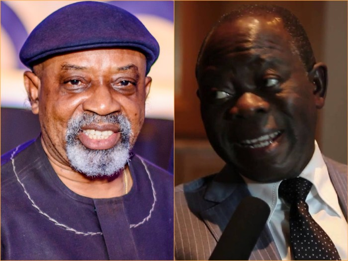 Mr. Chris Ngige, the minister of labour and productivity (left), Adams Oshiomhole, the national chairman of the APC