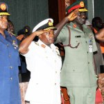 Chief of Air Staff; Air Marshal Sadique Abubakar; Chief of Naval Staff; Vice Marshal Ibok-Ete Ekwe Ibas; Chief of Army Staff; Lt. General Tukur Yusufu Buratai and Chief of Defence Staff; General Abayomi Gabriel Olonisakin.