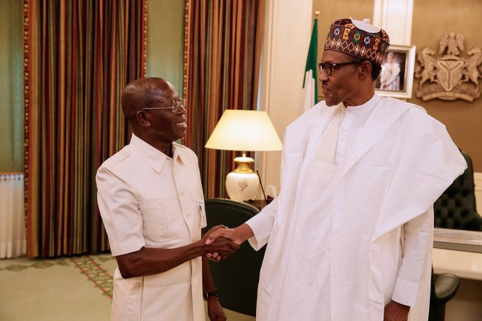 APC Mr. Adams Oshiomhole pictured with President Muhammadu Buhari in Aso Rock | State House Photo