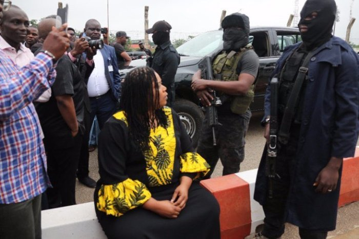 Operatives of the State Security Services, SSS, also known as DSS, stand at the entrance of the National Assembly in Abuja, Nigeria August 7, 2018.