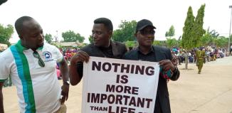 Members of the Christian Association of Nigeria, CAN blocked from conducting a peaceful protest against the killings by Fulani herdsmen in Yola, Adamawa on Wednesday, August 1, 2018   Zidon Love