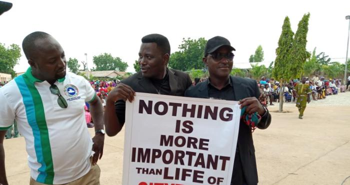 Members of the Christian Association of Nigeria, CAN blocked from conducting a peaceful protest against the killings by Fulani herdsmen in Yola, Adamawa on Wednesday, August 1, 2018 | Zidon Love