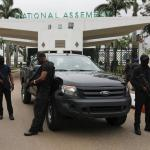 Operatives of the State Security Services, SSS, also known as DSS, stand at the entrance of the National Assembly in Abuja, Nigeria August 7, 2018. | REUTERS/Afolabi Sotunde