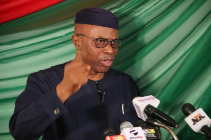 Former Governor of Ondo State/Presidential Aspirant of the LP, Dr Olusegun Mimiko speaking at the declaration on Thursday, September 19, 2018