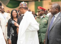 L-R; President, Women Arise, DrJoe Okei Odumakin; President of Federal Republic of Nigeria, His Excellency, President Muhammadu Buhari & others.