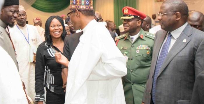 L-R; President, Women Arise, DrJoe Okei Odumakin; President of Federal Republic of Nigeria, His Excellency, President Muhammadu Buhari & others.