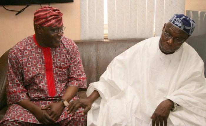 Former President Olusegun Obasanjo; former Vice-President, Atiku Abubakar, during Atiku's visit to Obasanjo's residence in Abeokuta, Ogun State on Friday, November 14, 2014. | Atiku Campaign Organization