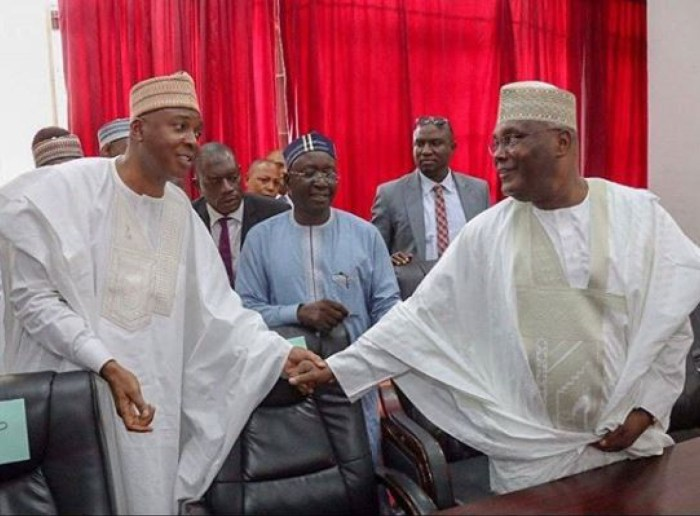 Senate President Bukola Saraki meets with former Vice President Atiku Abubakar ahead of the PDP Primary to decide the flagbearer of the party