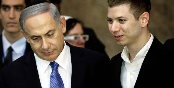Yair Netanyahu (right) with his father in Jerusalem in 2015. Photograph: Thomas Coex/AFP/Getty Images