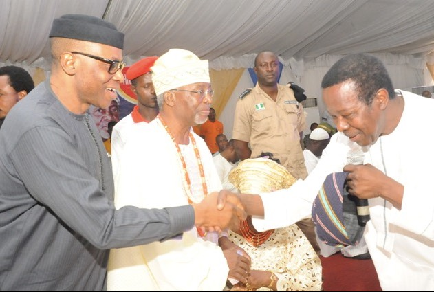 Governor Olusegun Mimiko (left) with Chief Frederick Fasehun at the OPC founder's 80th birthday celebration in 2015. Chief Sunny Ade, a legendary musician greets the governor
