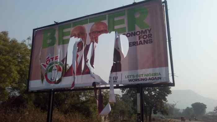 Atiku's billboards destroyed by APC Supporters in Lokoja, Kogi State