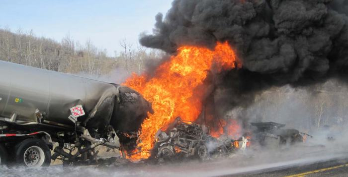 tanker fire cross river