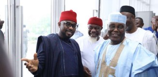 Spokesperson of the Coalition of United Political Parties, CUPP, Imo Ugochinyere (left) with Alhaji Atiku Abubakar, the presidential candidate of the People's Democratic Party, PDP