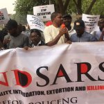 Protesters stage a demonstration agains police t the killings and human rights abuses by the police squad SARS in Nigeria. lagos #endsars