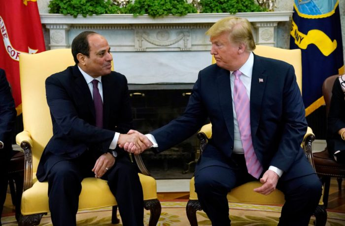 Muslim Brotherhood President Donald Trump meets with Egypt President Abdel Fattah al-Sisi at the White House in Washington. Photo by Kevin Lamarque/Reuters