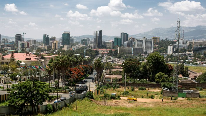 An aerial view of Addis Ababa, capital of Ethiopia