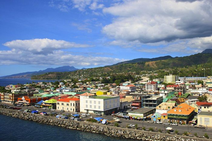 A panorama of Roseau, the capital and largest city of Dominica. On the west