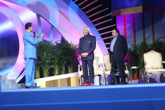 Pastor Chris Oyakhilome is joined on stage for teaching and ministry by Evangelical leaders Benny Hinn and Morris Cerullo at the World Evangelism Conference 2019