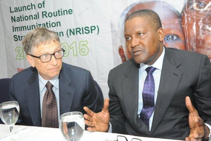 Bill Gates and Aliko Dangote at a 2015 Health event in Nigeria