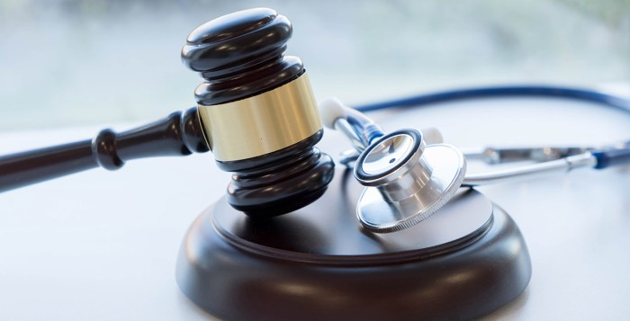 Gavel and stethoscope. medical jurisprudence. legal definition of medical malpractice. attorney. common errors doctors, nurses and hospitals make.