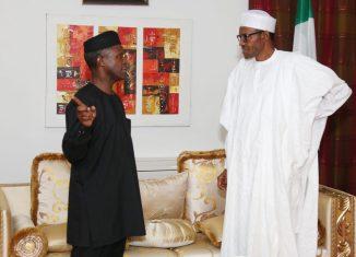 Nigeria's President Muhammadu Buhari (right) and Vice President Yemi Osinbajo at the State House