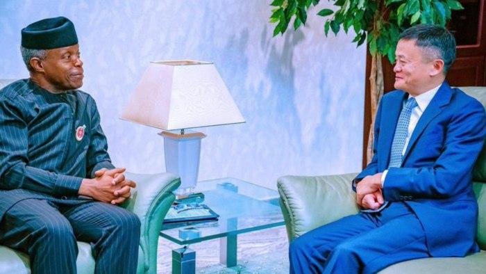 China's richest man, Jack Ma, meets with Nigeria's Vice President Yemi Osinbajo on Thursday, November 14, 2019