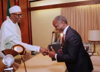 Vice President Yemi Osinbajo meets with President Muhammadu Buhari in the presidential villa in an undated photo