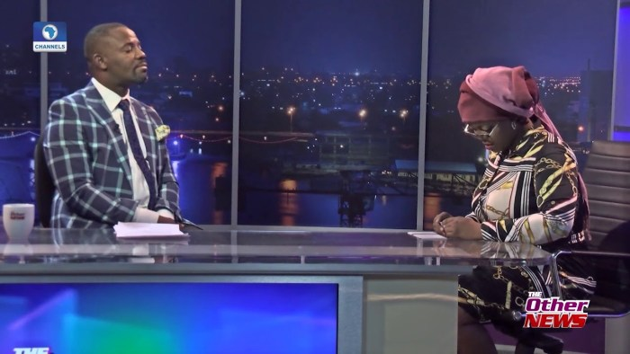 Binta Bhadmus on the set of The Other News on Channels TV | Screengrab on Channels TV