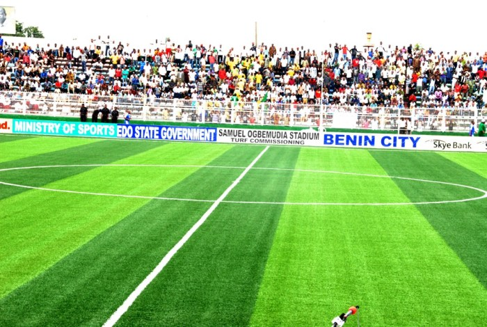 A view of the football pittch of the Samuel Ogbemudia Stadium, Benin, Edo State during a match of the Nigerian female football team, the Super Falcons