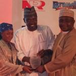 NIPR President Mukhtar Sirajo presents PR Personality of the Year to Mr Yushau Shuaib of PRNigeria at Sheraton Hotel Lagos