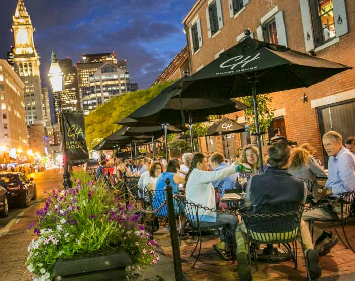 Diners at Chart House in Boston